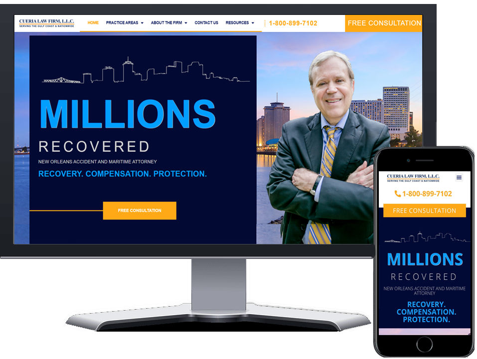 Attorney website designed by Twofold Marketing